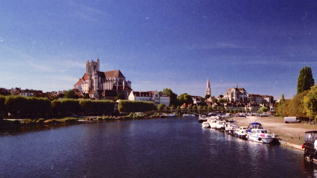 View of the city Auxerre and the river Yonne